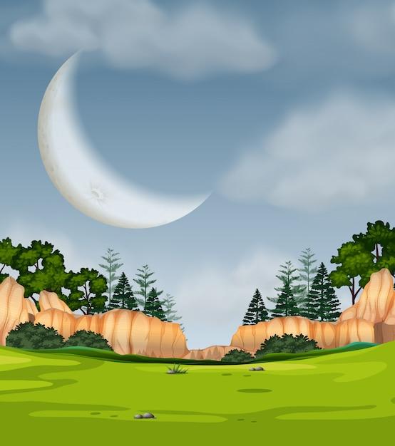 Cena da natureza da lua cheia Vetor grátis