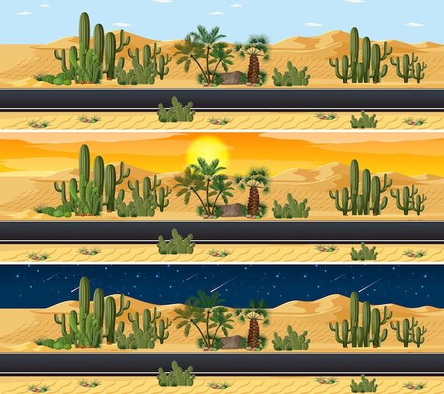 Cena da paisagem da natureza do deserto em diferentes horas do dia Vetor grátis