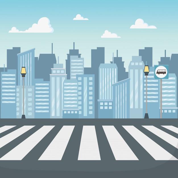 Cena da paisagem urbana com estrada de faixa de pedestres Vetor grátis