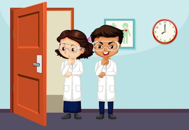 Cena da sala de aula com dois estudantes de ciências dentro Vetor grátis