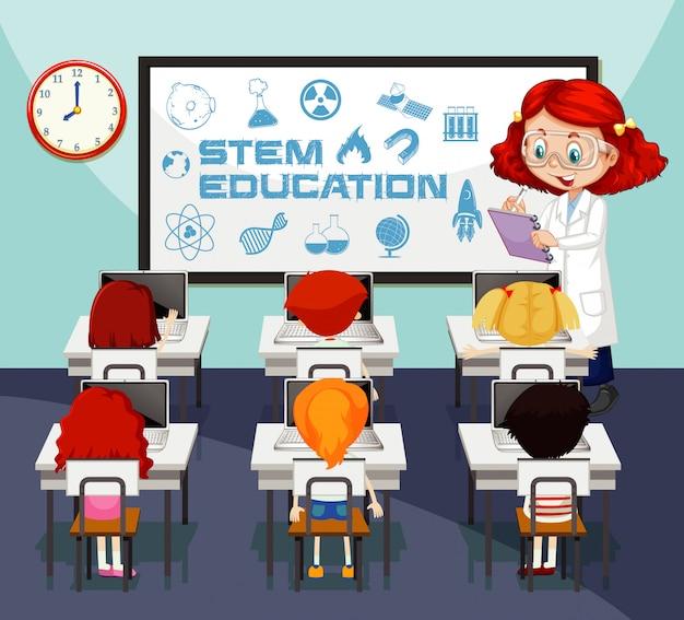 Cena da sala de aula com o professor de ciências e os alunos aprendendo Vetor grátis