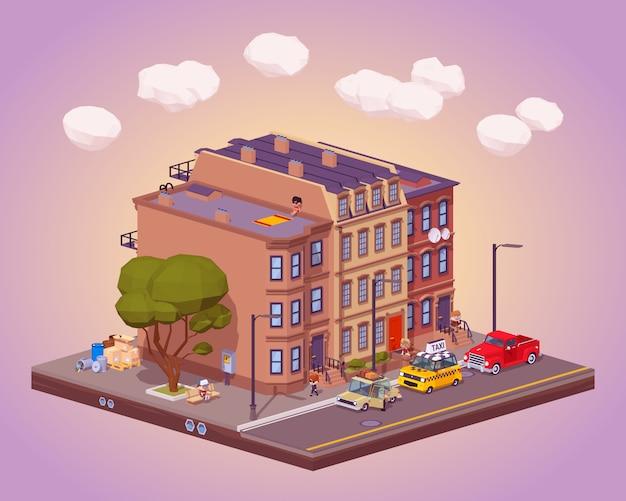 Cena da vida urbana urbana Vetor Premium
