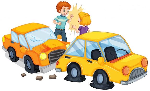 Cena de acidente com acidente de carro Vetor Premium