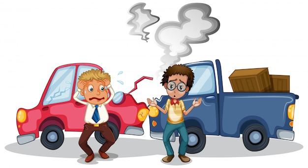Cena de acidente com acidente de carro Vetor grátis