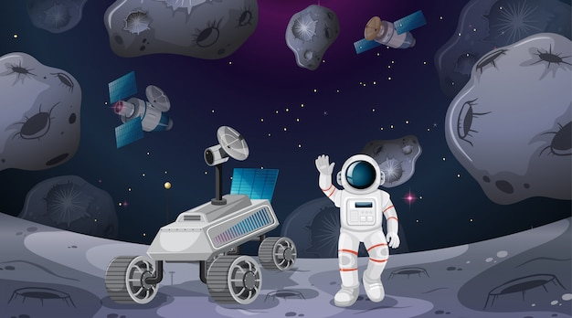 Cena de astronauta e rover Vetor grátis
