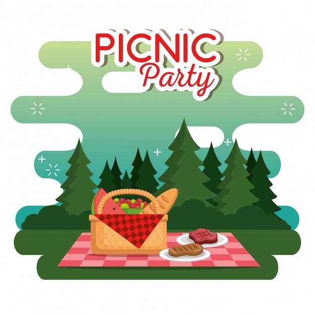 Cena de celebração de festa de piquenique Vetor grátis