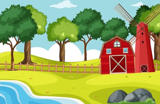 Cena de celeiro e moinho de vento com muitas árvores Vetor grátis