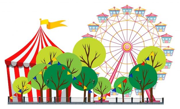 Cena de circo com tenda e roda gigante Vetor grátis