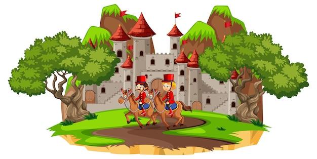 Cena de conto de fadas com castelo e soldado da guarda real Vetor grátis