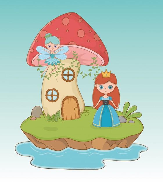 Cena de conto de fadas com princesa e fada Vetor grátis