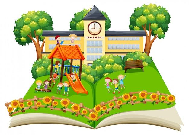 Cena, de, crianças, tocando, em, a, schoolyard, estale cima, livro Vetor Premium