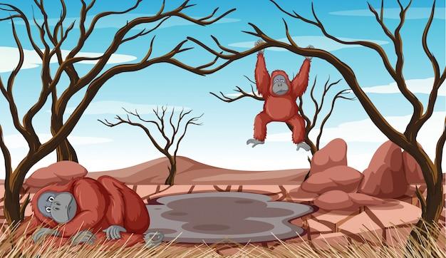 Cena de desmatamento com dois macacos Vetor grátis