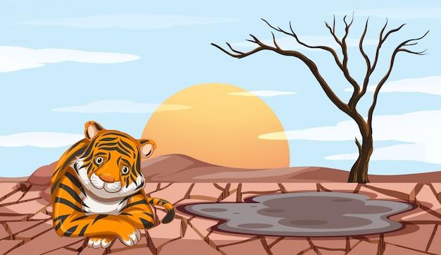 Cena de desmatamento com tigre triste Vetor grátis