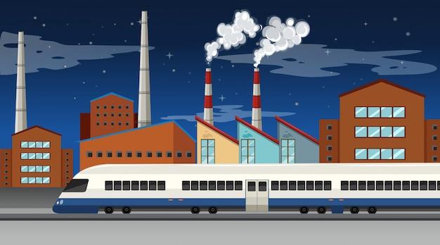 Cena de fábrica com chaminés e torres de resfriamento Vetor grátis