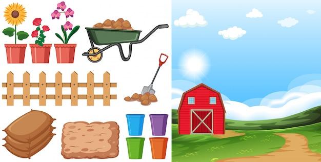 Cena de fazenda com terras agrícolas e outros itens agrícolas na fazenda Vetor grátis