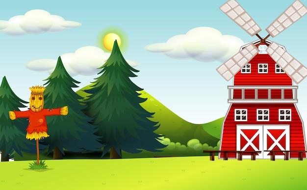 Cena de fazenda na natureza com celeiro e espantalho Vetor grátis