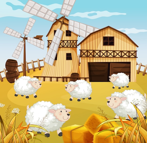 Cena de fazenda na natureza com celeiro e moinho de vento e ovelhas Vetor grátis