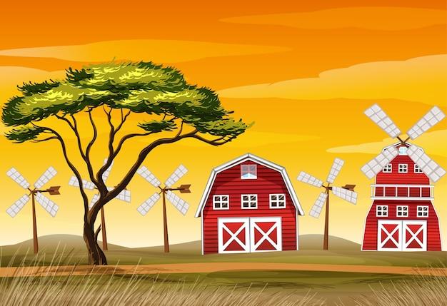 Cena de fazenda na natureza com celeiro e moinho de vento Vetor grátis
