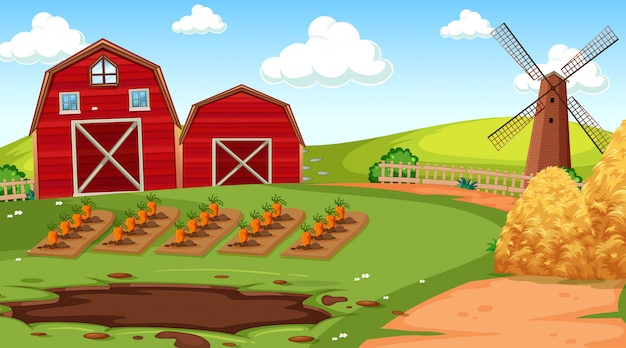 Cena de fazenda na natureza com celeiro Vetor grátis