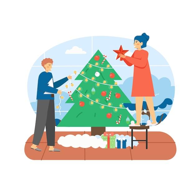 Cena de feliz natal. casal feliz decorando a árvore de natal com brinquedos e festão Vetor Premium