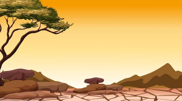 Cena de fundo com árvore na terra seca Vetor Premium
