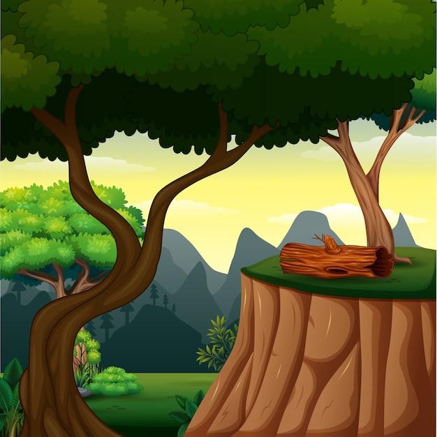 Cena de fundo com árvore no penhasco Vetor Premium