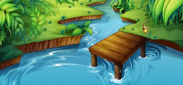 Cena de fundo com pequeno cais pelo rio Vetor grátis