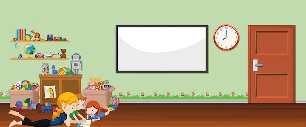 Cena de fundo com quadro branco e brinquedos Vetor grátis
