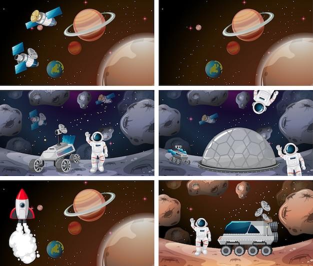 Cena de fundo de espaço ou conjunto de plano de fundo Vetor grátis