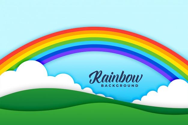 Cena de fundo de nuvens e prados de arco-íris Vetor grátis