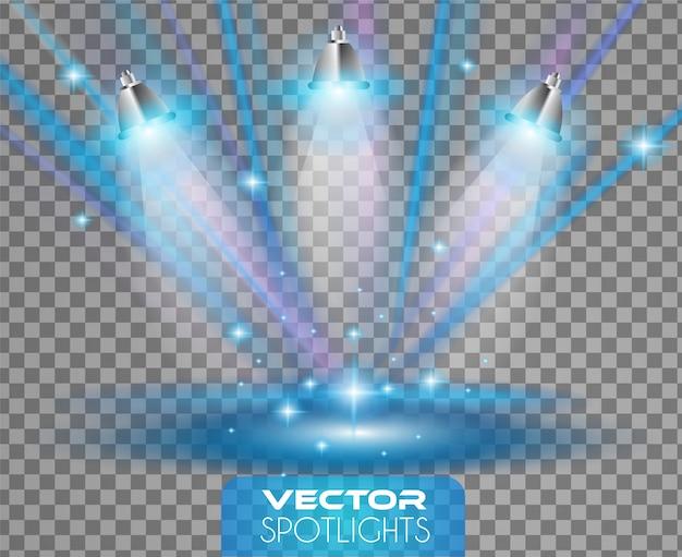Cena de holofotes com diferentes fontes de luzes apontando para o chão ou prateleira. Vetor Premium