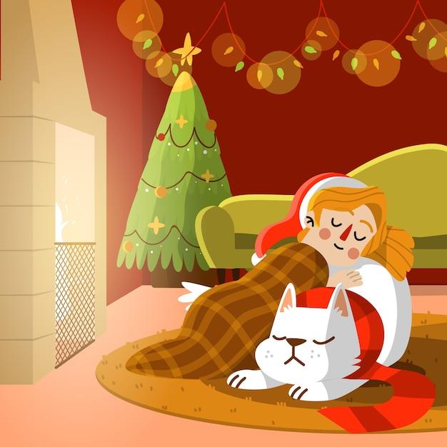 Cena de lareira de natal com cachorro e menina dormindo Vetor grátis