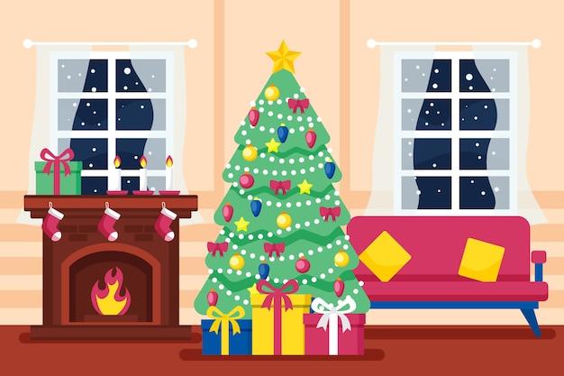 Cena de lareira de natal na sala de estar com árvore Vetor grátis