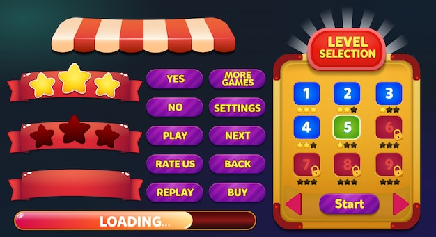 Cena de menu de jogo de seleção de nível com botões de jogo, barra de carregamento e ganhar perder estrelas Vetor Premium
