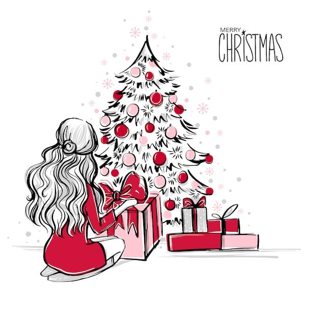 Cena de natal com presentes Vetor Premium