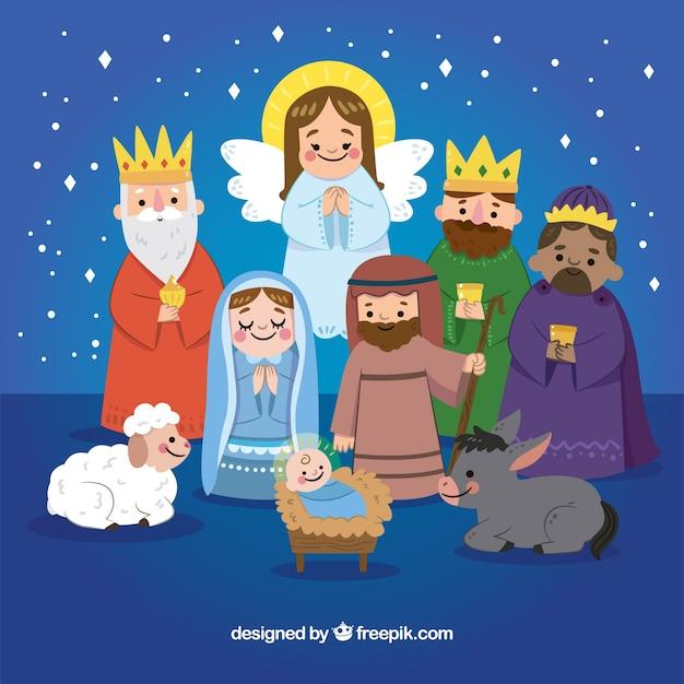 Cena de natividade desenhada à mão Vetor grátis