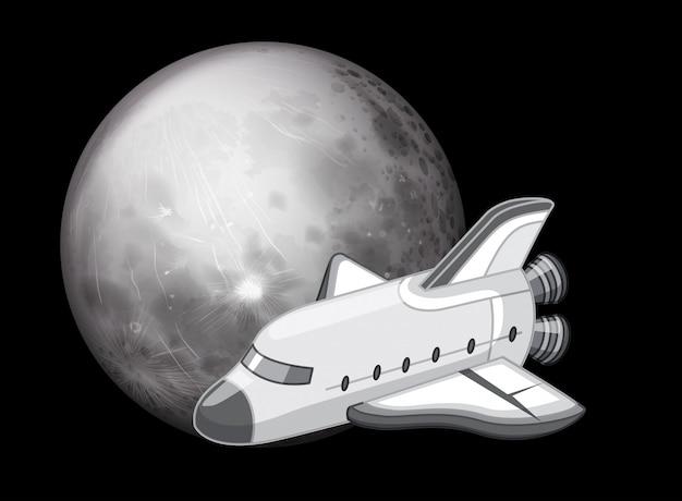 Cena de nave espacial de preto e branco Vetor grátis