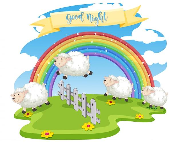 Cena de ovelhas pulando a cerca Vetor Premium
