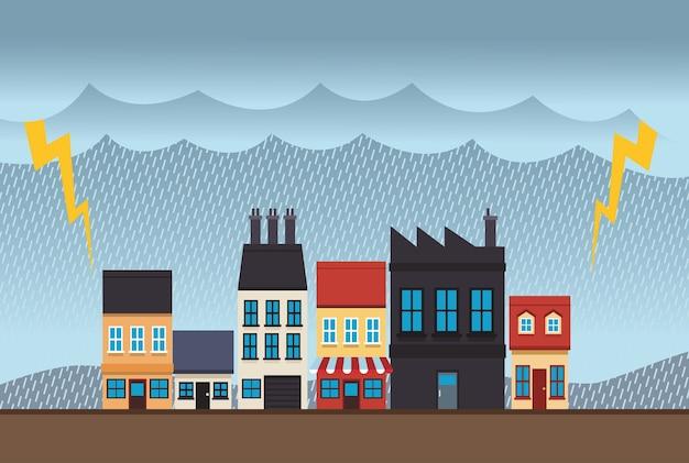 Cena de paisagem com efeito da mudança climática e ilustração de tempestade elétrica Vetor Premium