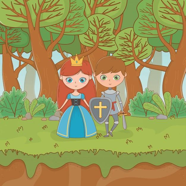 Cena de paisagem de conto de fadas com princesa e guerreiro Vetor Premium