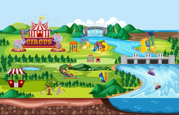 Cena de paisagem de parque de diversões temático e muitos passeios com crianças felizes Vetor Premium