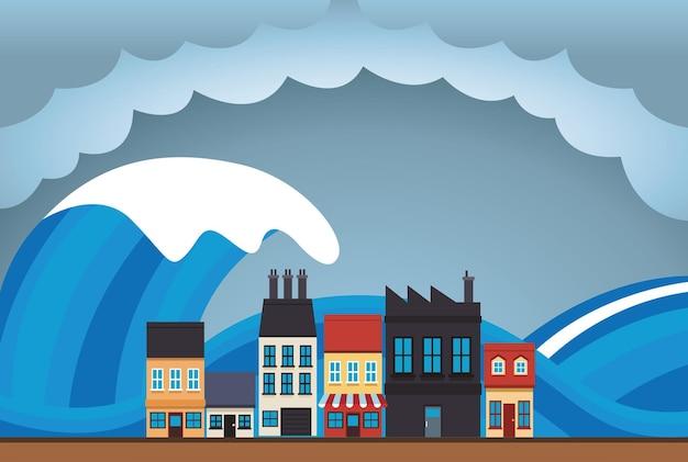 Cena de paisagem urbana com efeito da mudança climática e ilustração do tsunami Vetor Premium