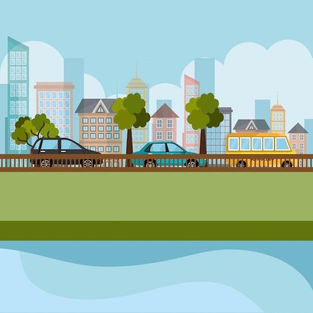 Cena de paisagem urbana e rodoviária Vetor grátis