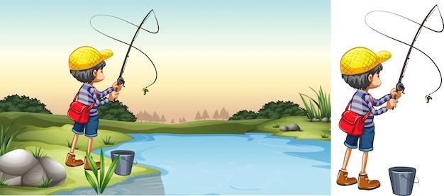 Cena, de, pescador, em, rio Vetor grátis