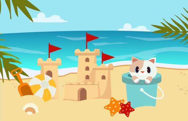 Cena de praia com areia do castelo, gato no tanque Vetor Premium
