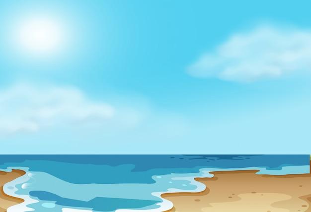 Cena de praia costeira natureza Vetor grátis
