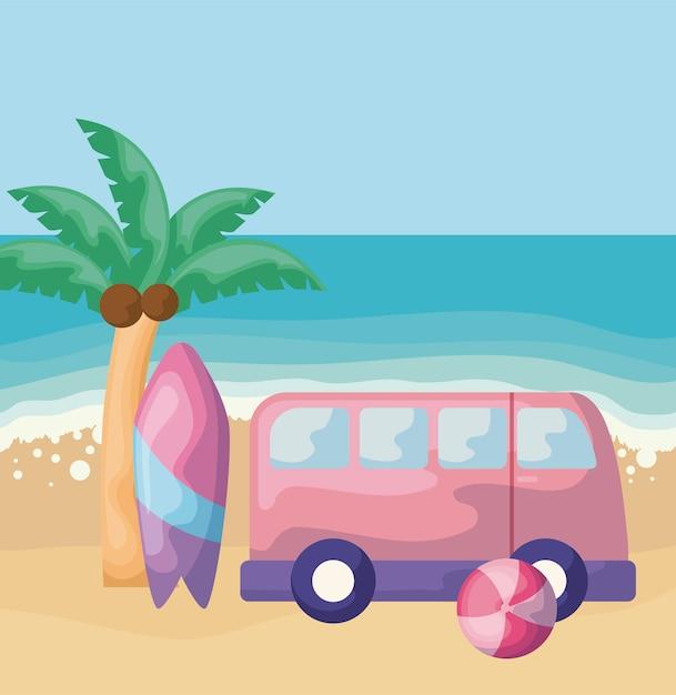Cena de praia de verão com van e prancha de surf Vetor Premium