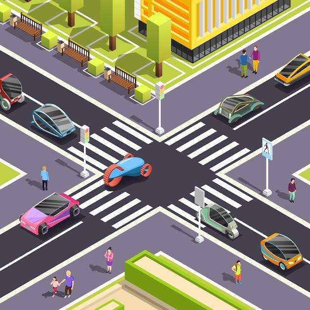 Cena de rua isométrica de transporte futuro Vetor grátis