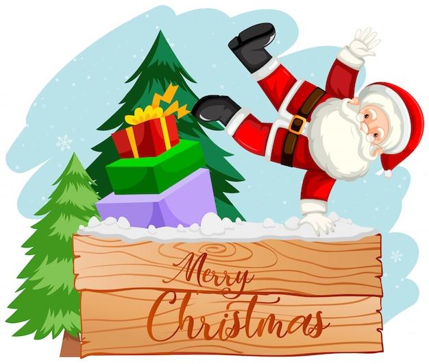 Cena de santa natal feliz Vetor grátis