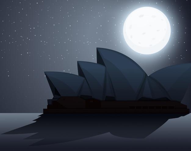 Cena de silhueta com a ópera de sydney durante a noite Vetor Premium